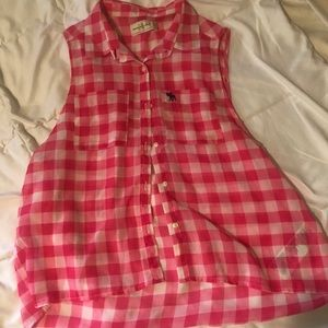 Abercrombie and Fitch plaid button up tank